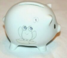 Precious Moments 1993 Frog Froggy w/ Btterfly White Small Coin / Piggy Bank