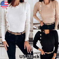 Womens Ladies Knitted Long Sleeve Sweater Tops Slim Round Neck Jumper Pullover