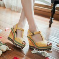 Women T-Strap Platform Wedge High Heels Peep Toes Slingback Sandals Casual Shoes