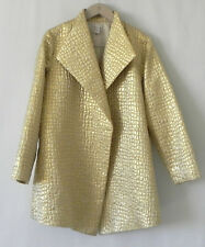 Chico's Duster/Coat Open Gold tone Metallic Pockets Size 2
