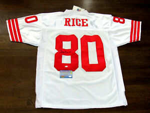 JERRY RICE #80 SF 49ERS 1996 SIGNED AUTO MITCHELL & NESS JERSEY MOUNTED MEMORIES