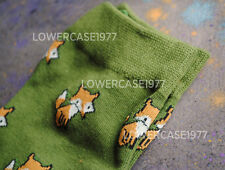 Green Fox pattern socks, 2 pairs - SIZE 6-10 UK  animals cute kawaii nature