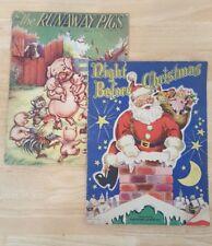 2 Vintage Children's Books Runaway Pigs & Night Before Christmas 1947 Whitman