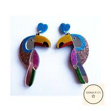 Giant Glitter Toucan Stud Earrings Dangle Drop Acrylic Large Quirky