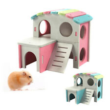 Small Pet Wood Cage Toy Hamster Guinea Pig House Bed Cage Nest with Ladder