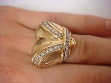 UNIQUE 14K YELLOW GOLD DIAMOND HEART SHAPED LARGE LADIES RING 9.1 GRAMS