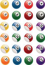 24 x NOVELTY PRECUT Pool Balls Snooker Edible Cake Toppers Birthday Dad Son Boy