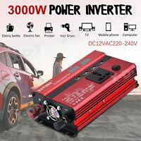3000W Inversor Uso universal DC12V to 220V AC Power Inverter 4 USB LCD Display