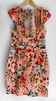 CUE gorgeous Peach Orange Floral Gathered Tulip Pocket Dress Size 12
