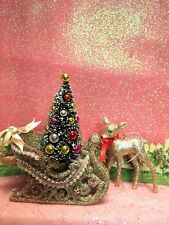 Kurt Adler Silver Glitter Christmas Sleigh Ornamet W Two Gold Reindeer Ornaments