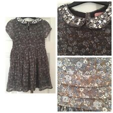 Next Girls Floral Dress Size 6 Years Sparkle Collar Excellent Condition (337)
