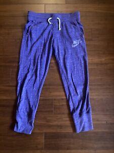 NIKE Purple Sweat Pants Joggers Cotton Blend Bottoms Woman's Size S FREE SHIP!