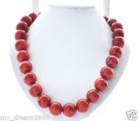 Beautiful Genuine 14mm Round red natural Grass Coral Beads NECKLACE 18''