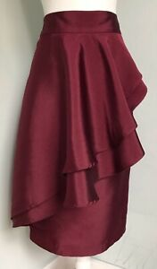 ISSA LONDON Burgundy Wine Red Ruffle Midi Skirt UK 14 NWT Lined Party Cocktail