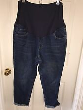 USED OLD NAVY MATERNITY DARK WASH JEANS STRETCH SZ 16 FULL PANEL
