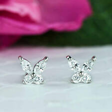 0.6ct Marquise Cut Diamond Butterfly Stud Earrings Women 9ct Solid White Gold