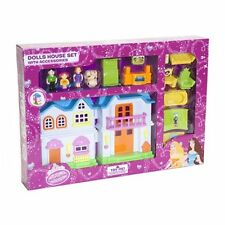 CHILDRENS GIRLS PINK DOLLS HOUSE TOY WITH ACCESSORIES & WORKING DOORBELL 536001