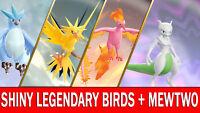 Pokemon Let's GO Shiny Articuno, Moltres, Zapdos & Shiny Mewtwo [ 6 IV ]