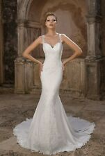 JUSTIN ALEXANDER LACE ILLUSION WEDDING GOWN BRIDE DRESS- SIZE 10 - NWT