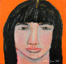Oil Portrait Painting Outsider Art Girl With Bangs Katie Jeanne Wood