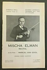 Mischa Elman Recital Official Programme 1930 Queen's Hall Langham Place London