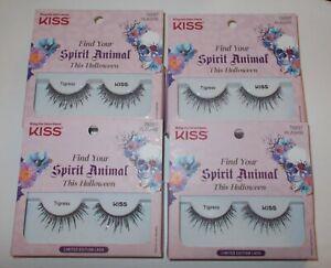 LOT 4 KISS Fake Eyelashes TIGRESS LIMITED EDITION Halloween GLITTER