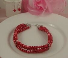 SILVER TONE 3 ROW RED FAUX PEARL DIAMANTE CRYSTAL CHOKER/NECKLACE EARRINGS SET