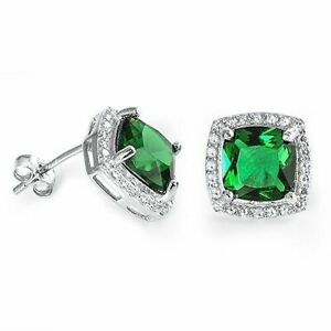 Square Emerald and White Topaz Halo Stud Earrings 925 Stamped Sterling Silver