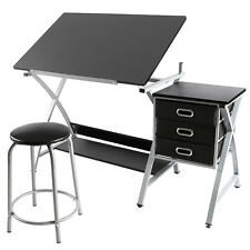 Adjustable Table Drafting Design Hobby Craft Table Computer Desk w/Stool Grey