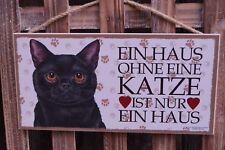 Holz Schild Katze schwarz 25 x 12,5 cm Türschild Haustier Geschenk MDF