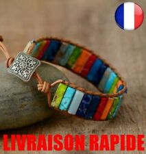 Color Stone Natural Leather Creative Chakra Bracelet Jewelry Hand Made Multi
