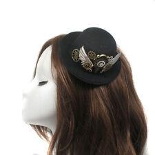 Women Steampunk Wings Gear Hair Clip Mini Top Hat Lolita Gothic Punk Head Wear