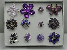 WHOLESALE LOT 12 PCS PURPLE COLLECTION CHIC COCKTAIL COSTUME JEWELRY RINGS #020