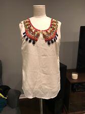 Kate Spade Silk Sleeveless Embellished Blouse Size M