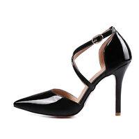 Ladies Party Shoes Synthetic Leather High Heels Pumps Strap Sandals AU Size s973