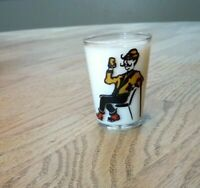 Vintage Shot Glass Man Sitting with Cane Having a Beer Black Red Yellow Man Cave