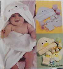 Baby Lamb Duck Hooded Towels Wash Mitt Bib Booties Play Blocks McCall Craft 3697