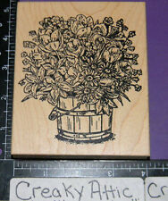 BUCKET OF FLOWERS TULIPS LILIES DAISIES RUBBER STAMP NORTHWOODS P3305