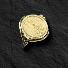 22K FINE GOLD 1/10 OZ US LIBERTY COIN in 14k Yellow Gold Ladies Heart Ring