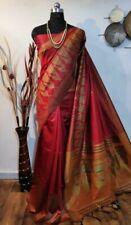 Handloom Red Raw SIlk Saree Contrast Pallu Border and Blouse Wedding Festival