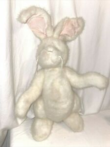 "Bearington Collection adorable white jointed stuffed plush Bunny Rabbit 17"""