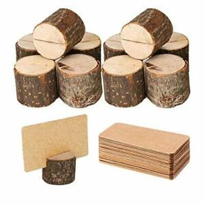 Wood Place Card Holders, 10Pcs Premium Rustic Table Number Holders and 20Pcs