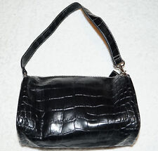 Vintage Tommy Hilfiger Black Faux Crocodile Leather Bag Small Mini-Hobo Purse
