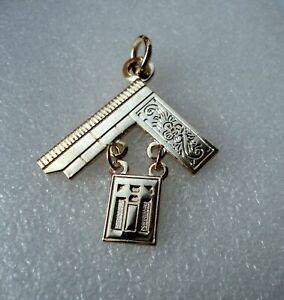 Mason Freemason Jewel Pendant Masonic Ornate Square Gold Plate #375