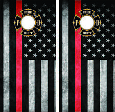 Thin Red Line Fire Department Seal Cornhole Board Skin Wrap Decal SET -Laminated