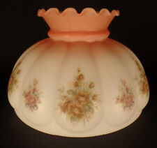 "10"" OPAL MELON STUDENT LAMP SHADE Roses Scene on Rust to Satin White Tint  #519"