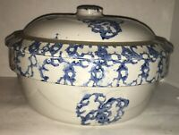 Large Antique Blue & White Stoneware Spongeware Crock with Lid
