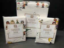Pottery Barn Teen PEANUTS Full Queen DUVET + 2 SHAMS Christmas Charlie Brown NEW
