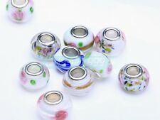 5pcs Murano Lampwork Glass Fit European Charms Bracelet Loose Big Hole Beads Lot