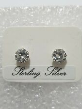 Fine Diamond Stud Earring Medium Round Stone 925 Solid Sterling Silver Jewellery